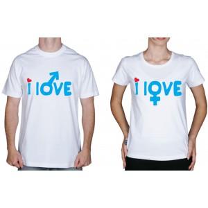"Парные футболки ""Я люблю"""